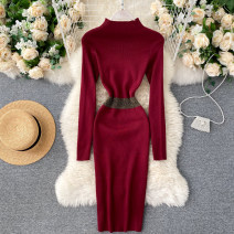 Dress Autumn 2020 Black, gray, brown, green, khaki, pink, Burgundy, dark blue Average size Middle-skirt singleton  Long sleeves commute Crew neck High waist Solid color Socket One pace skirt routine Others 18-24 years old Type X Korean version 31% (inclusive) - 50% (inclusive) other other