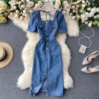 Dress Summer 2020 blue M, L Middle-skirt singleton  Short sleeve commute square neck High waist Solid color Socket A-line skirt puff sleeve Others 18-24 years old Type A Korean version Pocket, button 51% (inclusive) - 70% (inclusive) Denim cotton