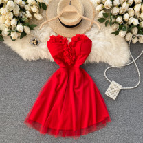 Dress Spring 2021 Black, white, red Average size Short skirt singleton  commute V-neck High waist Solid color Socket A-line skirt Breast wrapping 18-24 years old Type A Korean version 31% (inclusive) - 50% (inclusive) other other
