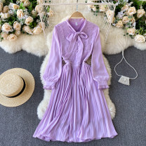 Dress Spring 2021 violet M,L,XL,2XL Middle-skirt singleton  Long sleeves commute Crew neck High waist Solid color Socket A-line skirt routine Others 18-24 years old Type A Korean version 31% (inclusive) - 50% (inclusive) other other