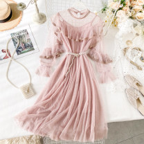 Dress Spring 2020 Black, gray, apricot, pink Average size Mid length dress Two piece set Long sleeves commute Crew neck High waist Dot Socket A-line skirt puff sleeve Others 18-24 years old Type A Korean version Lace, lace, mesh 31% (inclusive) - 50% (inclusive) other other