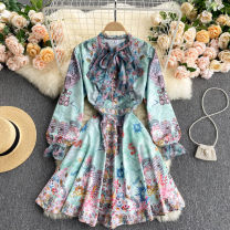 Dress Spring 2021 green M,L,XL,2XL Short skirt singleton  Long sleeves commute Crew neck High waist other Socket A-line skirt puff sleeve Others 18-24 years old Type A Korean version 31% (inclusive) - 50% (inclusive) other other