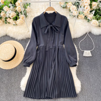 Dress Spring 2021 Dark grey, dark brown, white Average size Short skirt singleton  Long sleeves commute Polo collar High waist Solid color Socket A-line skirt puff sleeve Others 18-24 years old Type A Korean version 31% (inclusive) - 50% (inclusive) other other