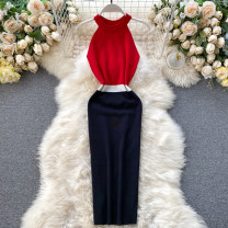 Dress Summer 2020 Dark blue, light blue, pink, red, khaki, white, apricot, gray, black, apricot and gray blue Average size Mid length dress singleton  Sleeveless commute Crew neck High waist Solid color Socket One pace skirt Hanging neck style 18-24 years old Type A 31% (inclusive) - 50% (inclusive)