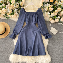 Dress Autumn 2020 Dark grey, black, khaki, dark blue S,M,L Short skirt singleton  Long sleeves commute square neck High waist Solid color Socket A-line skirt puff sleeve Others 18-24 years old Type A Korean version Frenulum 31% (inclusive) - 50% (inclusive) other other