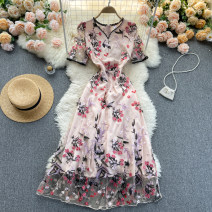 Dress Spring 2021 Apricot Pink S,M,L,XL,2XL Middle-skirt singleton  Short sleeve commute V-neck High waist Decor Socket A-line skirt routine Others 18-24 years old Type A Korean version 31% (inclusive) - 50% (inclusive) other other