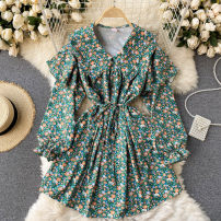 Dress Spring 2021 green Average size Short skirt singleton  Long sleeves commute V-neck High waist Broken flowers Socket A-line skirt puff sleeve Others 18-24 years old Type A Korean version 31% (inclusive) - 50% (inclusive) other other