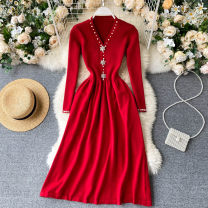 Dress Autumn 2020 Black, red Average size Middle-skirt singleton  Long sleeves commute V-neck High waist Solid color Socket A-line skirt routine Others 18-24 years old Type A Korean version 31% (inclusive) - 50% (inclusive) other other