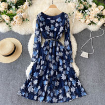 Dress Spring 2021 navy blue S,M,L,XL,2XL Middle-skirt singleton  Long sleeves commute Crew neck High waist Solid color Socket A-line skirt routine Others 18-24 years old Type A Korean version 31% (inclusive) - 50% (inclusive) other other