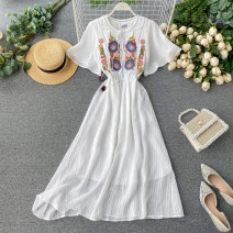 Dress Summer 2020 white S,M,L Middle-skirt singleton  Short sleeve commute Crew neck High waist Solid color Socket A-line skirt Flying sleeve Others 18-24 years old Type A Korean version Embroidery, lace up 31% (inclusive) - 50% (inclusive) other other