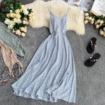 Dress Summer 2020 Red, black, green, apricot, blue S, M Mid length dress singleton  Sleeveless commute V-neck High waist Dot Socket A-line skirt routine camisole 18-24 years old Type A Korean version 30% and below Chiffon