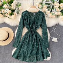 Dress Spring 2021 White, green, pink Average size Short skirt singleton  Long sleeves commute V-neck High waist Dot Socket Irregular skirt routine Others 18-24 years old Type A Korean version Frenulum 31% (inclusive) - 50% (inclusive) other other