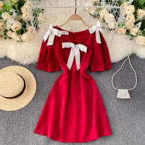 Dress Spring 2021 Black, white, red S,M,L Short skirt singleton  Long sleeves commute Crew neck High waist Solid color Socket A-line skirt routine Others 18-24 years old Type A Korean version bow 31% (inclusive) - 50% (inclusive) other other