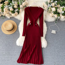Dress Autumn 2020 Black, gray, pink, Burgundy, khaki, dark green Average size Middle-skirt singleton  Long sleeves commute V-neck High waist Solid color Socket Pleated skirt routine Others 18-24 years old Type A Korean version 31% (inclusive) - 50% (inclusive) other other