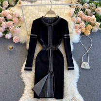 Dress Spring 2021 black Average size Short skirt singleton  Long sleeves commute Crew neck High waist Solid color Socket A-line skirt routine Others 18-24 years old Type A Korean version 31% (inclusive) - 50% (inclusive) other other