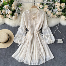 Dress Spring 2021 Black, white, apricot Average size Short skirt singleton  Long sleeves commute V-neck High waist Solid color Socket A-line skirt puff sleeve Others 18-24 years old Type A Korean version Fungus, lace up 31% (inclusive) - 50% (inclusive) other other