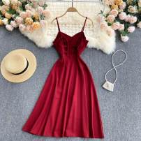 Dress Summer 2021 Black, green, red M, L Mid length dress singleton  commute V-neck High waist Solid color Socket A-line skirt camisole 18-24 years old Type A Korean version 31% (inclusive) - 50% (inclusive) other other