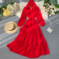 Dress Summer 2020 Red, white S,M,L Mid length dress singleton  Long sleeves commute Hood High waist Solid color Socket A-line skirt puff sleeve Others 18-24 years old Type A Korean version Frenulum 31% (inclusive) - 50% (inclusive) other other
