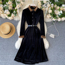 Dress Autumn 2020 black M,L,XL Middle-skirt singleton  Long sleeves commute Polo collar High waist Solid color Single breasted A-line skirt routine Others 18-24 years old Type A Korean version 31% (inclusive) - 50% (inclusive) other other