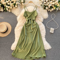 Dress Spring 2021 Black, white, red, yellow, dark green, light green, caramel S,M,L Middle-skirt singleton  commute square neck High waist Solid color Socket Big swing Others 18-24 years old Type A Korean version 31% (inclusive) - 50% (inclusive) other other
