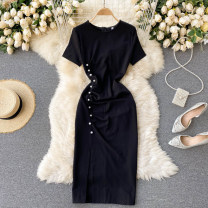 Dress Spring 2021 black S,M,L,XL,2XL Short skirt singleton  Short sleeve commute Crew neck High waist Solid color Socket A-line skirt routine Others 18-24 years old Type A Korean version 31% (inclusive) - 50% (inclusive) other other