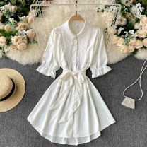 Dress Spring 2021 Black, white M, L Short skirt singleton  Short sleeve commute Polo collar High waist Solid color Socket A-line skirt routine Others 18-24 years old Type A Korean version 31% (inclusive) - 50% (inclusive) other other