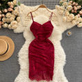 Dress Summer 2021 White, black, red M, L Short skirt singleton  commute V-neck High waist Solid color Socket A-line skirt camisole 18-24 years old Type A Korean version 31% (inclusive) - 50% (inclusive) other other
