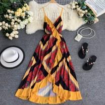 Dress Summer 2020 gules S,M,L Mid length dress singleton  Sleeveless commute V-neck High waist Socket A-line skirt routine camisole 18-24 years old Type A Korean version 30% and below Chiffon