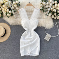 Dress Spring 2021 Black, white M, L Short skirt singleton  commute V-neck High waist Solid color Socket A-line skirt Others 18-24 years old Type A Korean version 31% (inclusive) - 50% (inclusive) other other