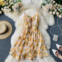 Dress Summer 2020 Average size Short skirt singleton  commute square neck High waist Decor Socket A-line skirt camisole 18-24 years old Type A Korean version Frenulum 31% (inclusive) - 50% (inclusive) other other