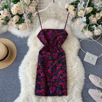 Dress Summer 2020 violet S,M,L Short skirt singleton  commute square neck High waist other Socket One pace skirt camisole 18-24 years old Type X Korean version 31% (inclusive) - 50% (inclusive) other other