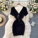 Dress Spring 2021 black Average size Short skirt singleton  Short sleeve commute V-neck High waist Solid color Socket A-line skirt routine Others 18-24 years old Type A Korean version 31% (inclusive) - 50% (inclusive) other other