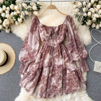 Dress Spring 2021 Picture color S,M,L Short skirt singleton  Long sleeves commute square neck High waist other Socket A-line skirt puff sleeve Others 18-24 years old Type A Korean version 31% (inclusive) - 50% (inclusive) other other