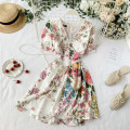 Dress Summer 2020 Decor on white background Average size Short skirt singleton  Short sleeve commute V-neck High waist Decor zipper A-line skirt routine Others 18-24 years old Type A Korean version Button, zipper, print 30% and below other other