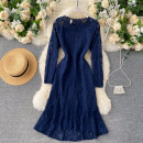 Dress Autumn 2020 blue M,L,XL Middle-skirt singleton  Long sleeves commute Crew neck High waist Solid color Socket A-line skirt routine Others 18-24 years old Type A Korean version 31% (inclusive) - 50% (inclusive) other other
