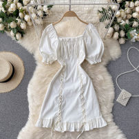Dress Summer 2021 Black, white M, L Short skirt singleton  Short sleeve commute square neck High waist Solid color Socket A-line skirt puff sleeve Others 18-24 years old Type A Korean version 31% (inclusive) - 50% (inclusive) other other