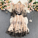 Dress Spring 2021 khaki S,M,L,XL,2XL Middle-skirt singleton  elbow sleeve commute Crew neck High waist Solid color Socket A-line skirt routine Others 18-24 years old Type A Korean version 31% (inclusive) - 50% (inclusive) other other