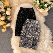 skirt Spring 2020 M, L Black, silver, gold Short skirt commute High waist other Solid color Type H 18-24 years old 31% (inclusive) - 50% (inclusive) other other Sequins Korean version