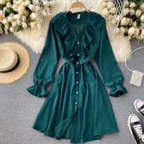 Dress Autumn 2020 black , yellow , green , red , navy blue , royal blue , Pink , Orange Average size Short skirt singleton  Long sleeves commute V-neck High waist Solid color Socket A-line skirt puff sleeve Others 18-24 years old Type A Korean version Lotus leaf edge 31% (inclusive) - 50% (inclusive)