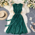 Dress Summer 2020 Average size Middle-skirt singleton  commute Crew neck High waist Solid color Socket A-line skirt Others 18-24 years old Type A Korean version Frenulum 31% (inclusive) - 50% (inclusive) other other