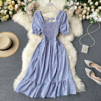 Dress Summer 2020 Average size Mid length dress singleton  Short sleeve commute square neck High waist Broken flowers Socket A-line skirt puff sleeve Others 18-24 years old Type A Korean version Fold, lace up 31% (inclusive) - 50% (inclusive) other other