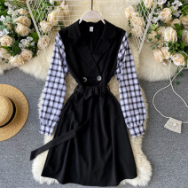 Dress Autumn 2020 black S,M,L Short skirt singleton  Long sleeves commute V-neck High waist Solid color Socket A-line skirt puff sleeve Others 18-24 years old Type A Korean version Splicing 31% (inclusive) - 50% (inclusive) other other