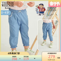 trousers teenieweenieKIDS female 90cm 100cm 110cm blue Ninth pants leisure time Leggings Leather belt middle-waisted cotton Don't open the crotch Cotton 100% Class A Summer 2021 3 months 12 months 6 months 9 months 18 months 2 years 3 years 4 years old