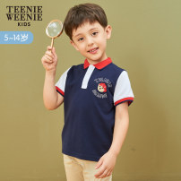 shirt Navy Blue teenieweenieKIDS male 110 120 130 140 150 summer Short sleeve leisure time other other Lapel and pointed collar Cotton 100% TKHA92612A Summer of 2019