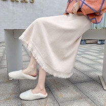skirt Winter 2020 S M L XL Mid length dress commute High waist A-line skirt Solid color Type A More than 95% knitting Keru other Korean version Other 100% Exclusive payment of tmall