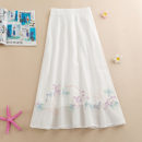 skirt Summer 2020 Average size White, blue longuette Retro Natural waist Type A Embroidery