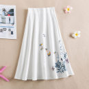 skirt Summer 2020 Average size Middle-skirt Retro Natural waist A-line skirt Type A hemp Embroidery