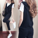 Women's large Summer 2019, spring 2019, summer 2018 Black [three piece set], collection sharing, small gift delivery priority trousers Three piece set commute easy thin Socket Short sleeve Solid color Korean version Hood routine Polyester, cotton Three dimensional cutting routine 18-24 years old
