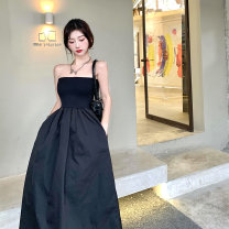 Dress Summer 2021 White, black S, M Mid length dress singleton  Sleeveless commute One word collar High waist Solid color Socket A-line skirt other Breast wrapping 18-24 years old Other / other Retro 0413+ 51% (inclusive) - 70% (inclusive) cotton