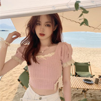 T-shirt Pink, purple S, M Spring 2021 Short sleeve square neck Self cultivation have cash less than that is registered in the accounts puff sleeve commute other 31% (inclusive) - 50% (inclusive) 18-24 years old Retro other Solid color Other / other 0329+ Lace